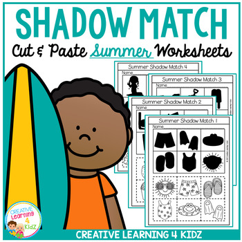 Shadow Matching Summer Cut & Paste Worksheets