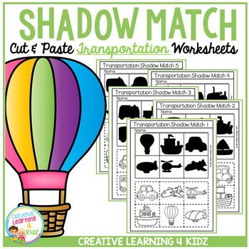 Shadow Matching Transportation Cut & Paste Worksheets
