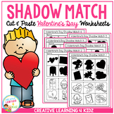 Shadow Matching Valentine's Day Cut & Paste Worksheets