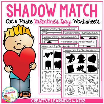 shadow matching valentine 39 s day cut paste worksheets tpt. Black Bedroom Furniture Sets. Home Design Ideas