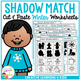 Shadow Matching Winter Cut & Paste Worksheets