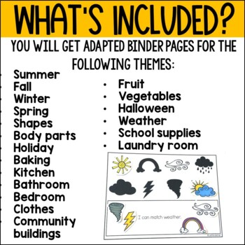 Shadow Matching Work Binder for Kids with Special Needs