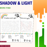 Shadow and Light Science Activity - Word Search Puzzle Voc
