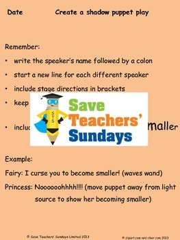 shadow puppet show lesson plan and instructions by save teachers sundays