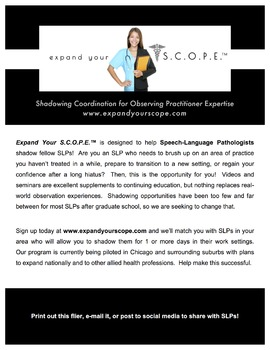 Shadowing Experiences for Certified Speech-Language Pathologists (SLPs) - Flier