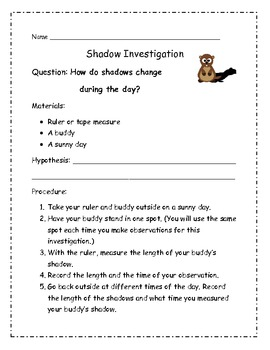 Shadows: Beginning Activities for How Shadows Change During the Day
