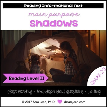 Shadows • Reading Comprehension Passages and Questions • RL II