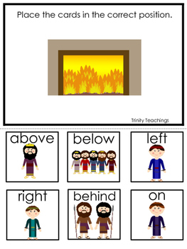 Shadrach, Meshach, Abednego Positional Game printable game. Preschool Bible Stu