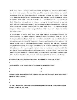 Shah Jahan Biography Article and=d Assignment