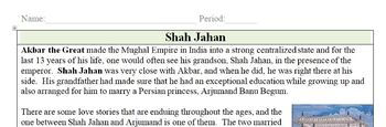 Shah Jahan and the Taj Mahal Quick Read: 1 Page Reading with Questions