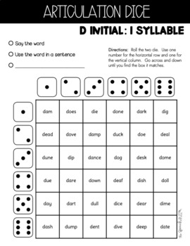 Shake N' Say Articulation Dice:  Earlier Sounds