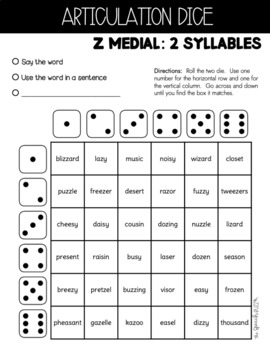 Shake N' Say Articulation Dice:  Later Sounds