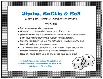 Shake, Rattle, & Roll- An Addition Dice Game