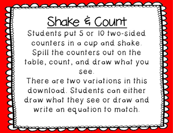 Shake and Count- Making Combinations to 5 and 10