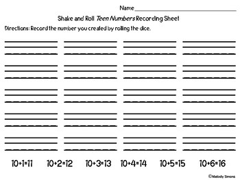 Shake and Roll Teen Numbers Game