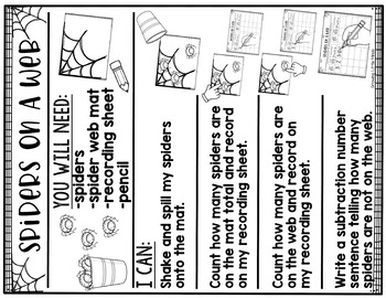 Shake and Spill Addition and Subtraction Story Mat Game- Spiders On a Web