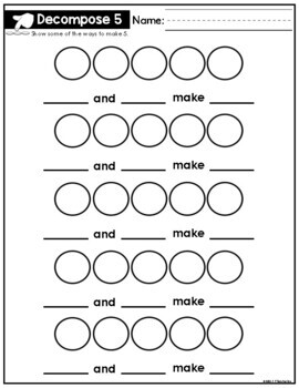 Shake and Spill Recording Sheet For Numbers 5 - 10