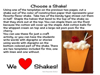 Shake it UP with Digraphs!: A Milkshake Literacy Activity for Learning Digraphs