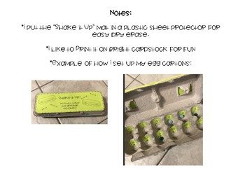Shake it up! Egg Carton Comparing Numbers and Equations Game