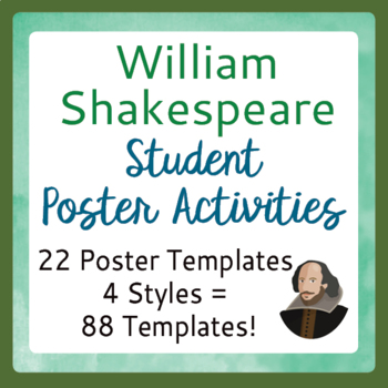 Shakespeare Poster Activity 22 Topics, 4 Choices of Poster Styles