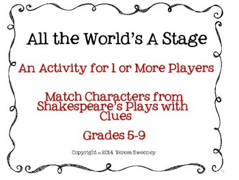 Shakespeare: All the World's A Stage Matching Activity