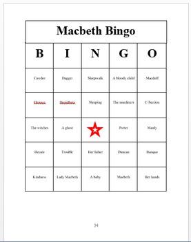 Macbeth BINGO (30 BINGO cards!)