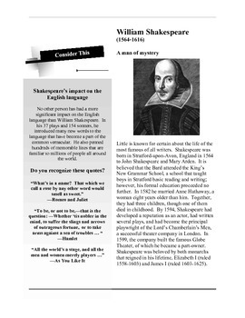Shakespeare Background Handout