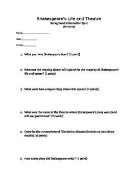 Shakespeare Background Information Quiz