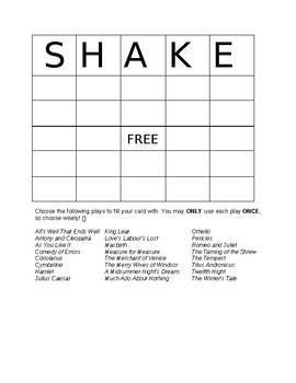 Shakespeare Bingo!