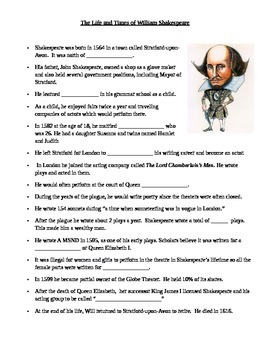Shakespeare Biography Close/Fill In The Blank Notes