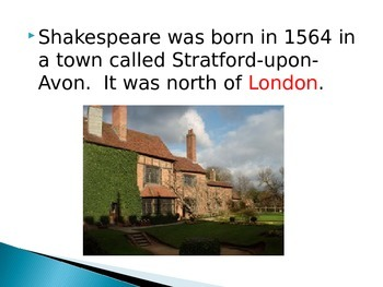 Shakespeare Biography Close/Fill In The Blank Presentation