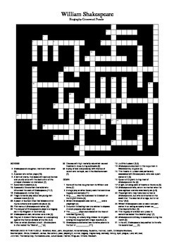 shakespeare biography crossword puzzle by m walsh tpt. Black Bedroom Furniture Sets. Home Design Ideas