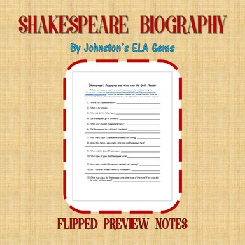 Shakespeare Biography Flipped Notes