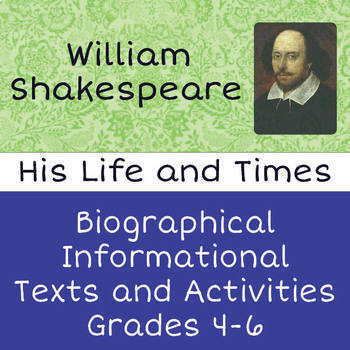 Shakespeare Biography Informational Texts Activities Differentiated Grades 6-8