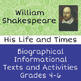 Shakespeare Biography Informational Texts Activities Diffe