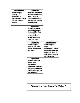 Shakespeare Bloom's Taxonomy Cube #1 - Differentiation Tool