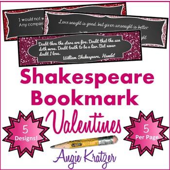 Shakespeare Bookmark Valentines