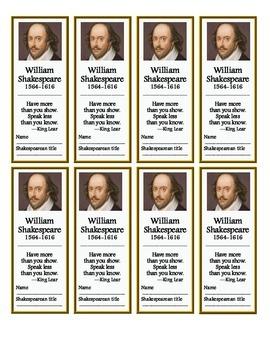 Shakespeare Bookmarks (FREE!)