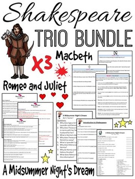 Shakespeare Bundle (A Midsummer Night's Dream, Romeo and Juliet, Macbeth)