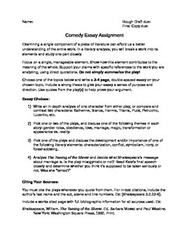 Shakespeare Comedy Play Essay