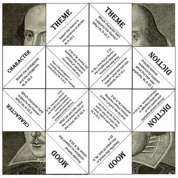 Shakespeare Common Core Cootie CatcherGame