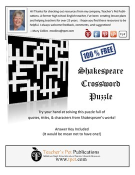 Shakespeare Crossword 1