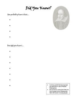 Shakespeare Did You Know? and Mini Poster
