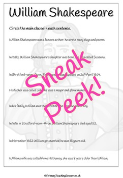 Shakespeare English Activity Pack (Worksheets and presentations)