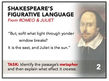 Shakespeare Figurative Language Task Cards: Bell-Ringers, Quizzes, Worksheet
