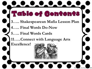 """Shakespeare's """"Death Lines"""" Activity"""