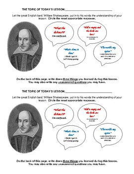 Shakespeare Formative Assessment Exit Slip/Ticket- Funny & Editable!