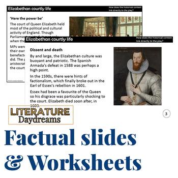 Shakespeare, Elizabethan, Jacobean Historical Information