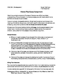 Shakespeare History Play Essay