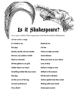 Shakespeare Idioms Activity